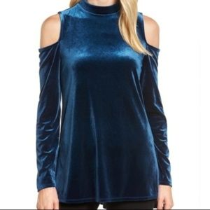 Halogen Blue Velvet Cold Shoulder Long Sleeve Top